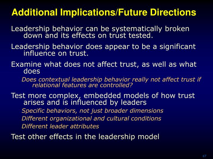Additional Implications/Future Directions