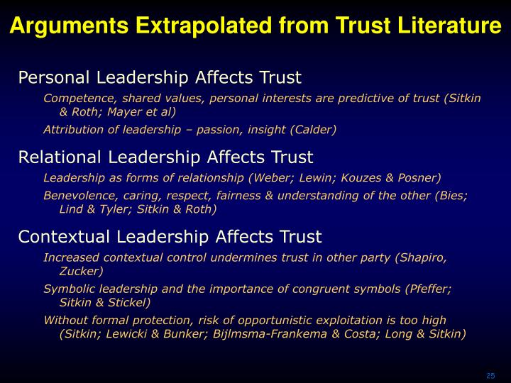 Arguments Extrapolated from Trust Literature