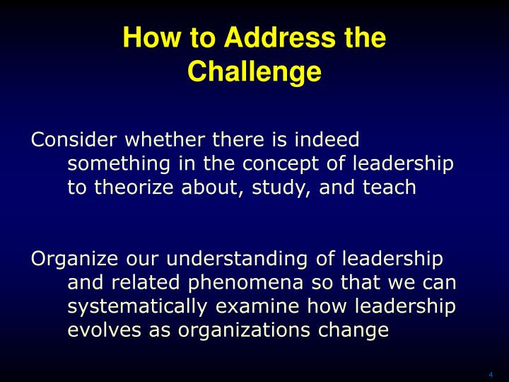 How to Address the Challenge