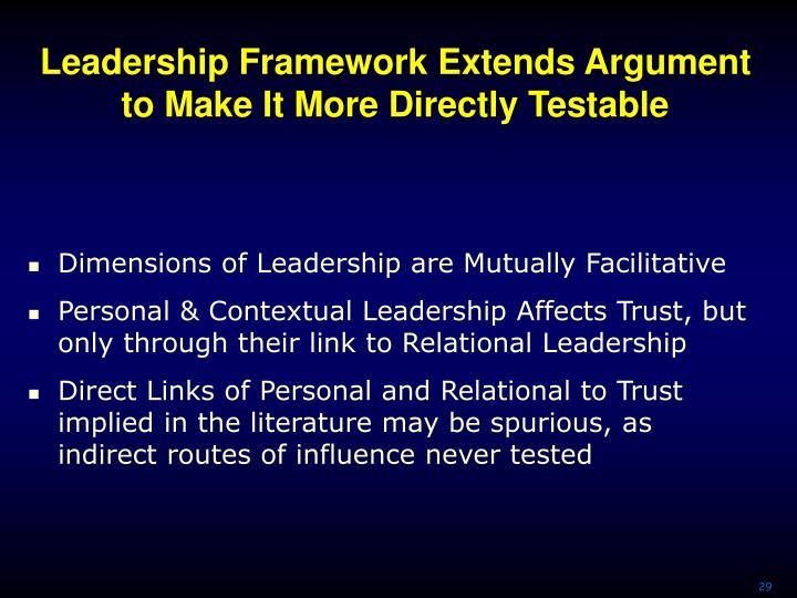 Leadership Framework Extends Argument to Make It More Directly Testable