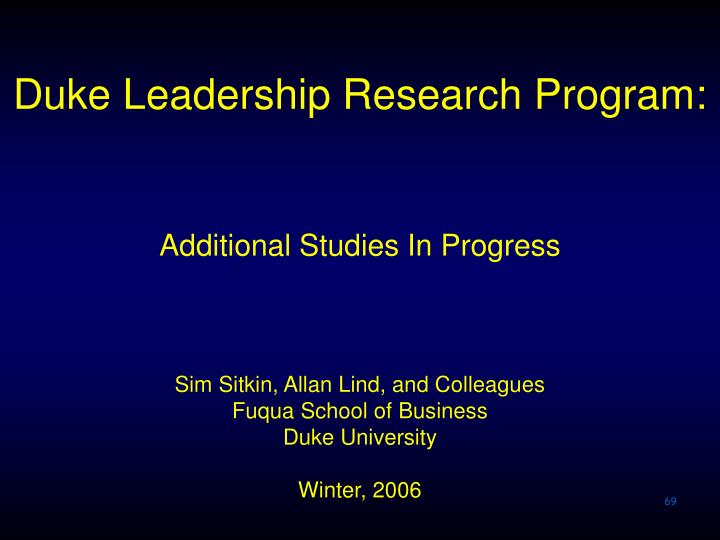 Duke Leadership Research Program: