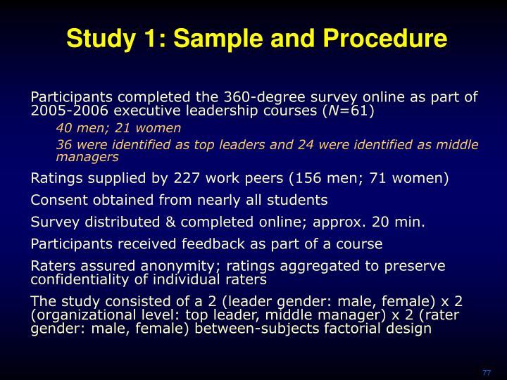 Study 1: Sample and Procedure