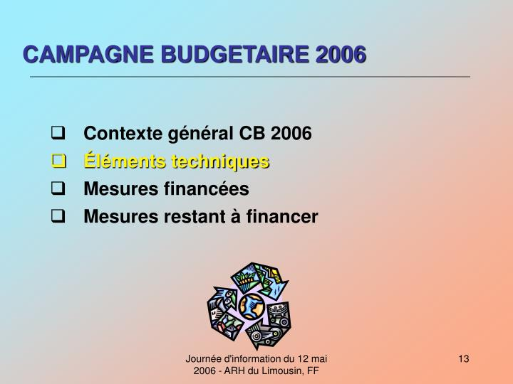 CAMPAGNE BUDGETAIRE 2006