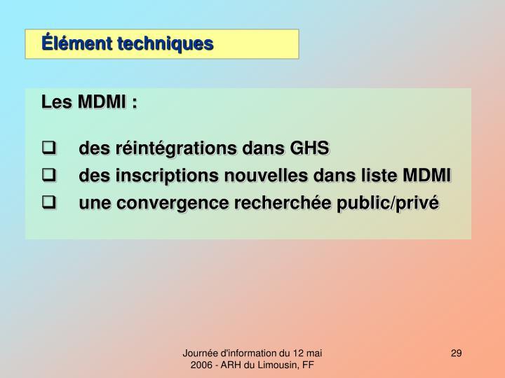 Les MDMI :