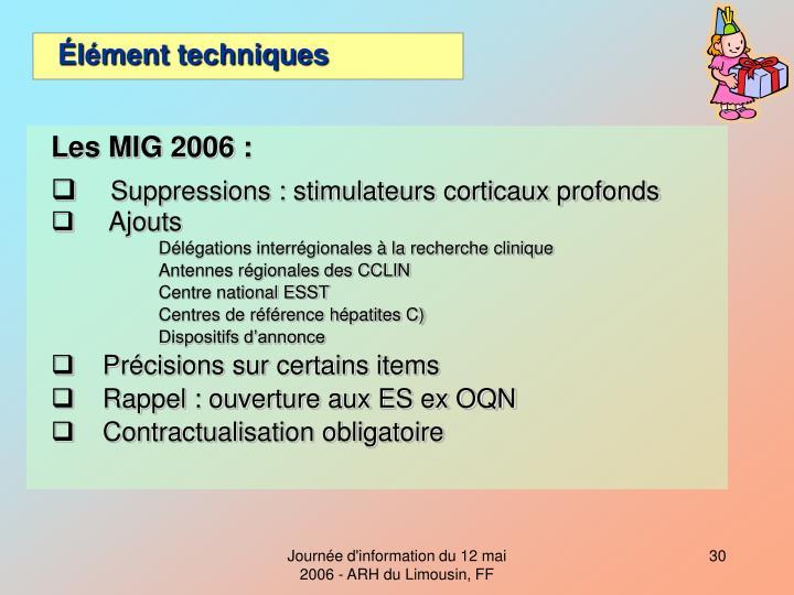 Les MIG 2006 :