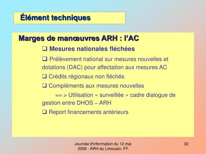 Marges de manœuvres ARH : l'AC
