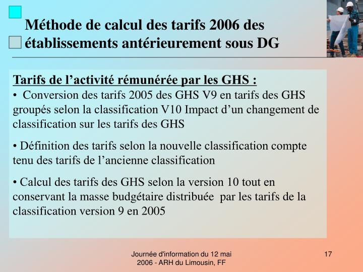 Méthode de calcul des tarifs 2006 des établissements antérieurement sous DG
