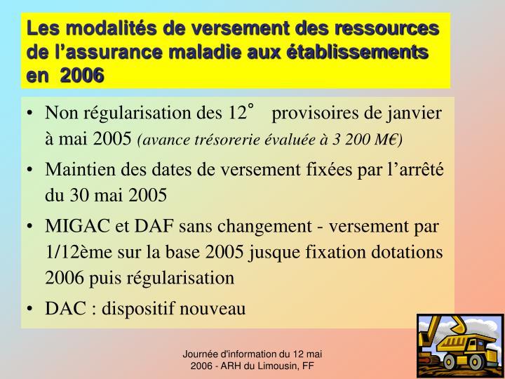 Les modalités de versement des ressources de l'assurance maladie aux établissements en  2006