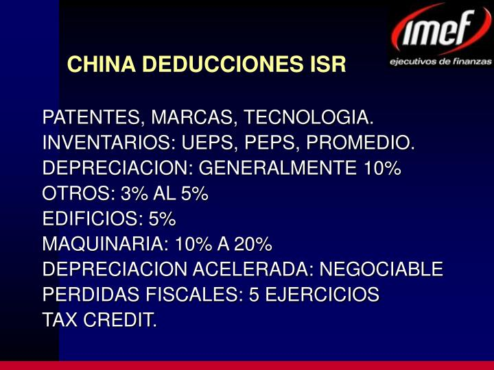 CHINA DEDUCCIONES ISR