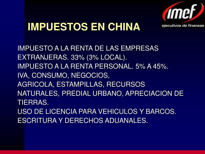 Impuestos en china