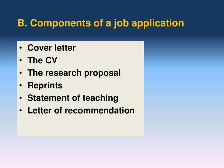 B. Components of a job application