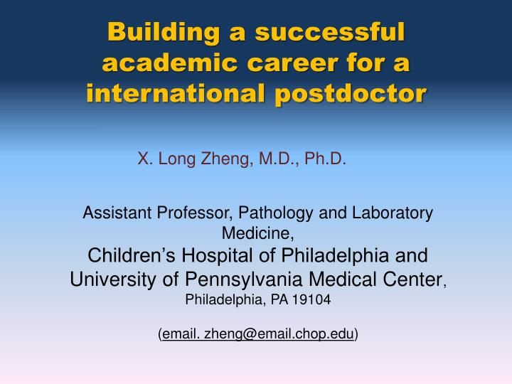 Building a successful academic career for a international postdoctor