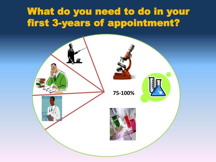 What do you need to do in your first 3-years of appointment?