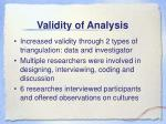 validity of analysis
