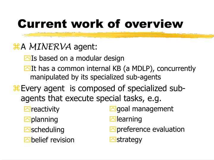 Current work of overview