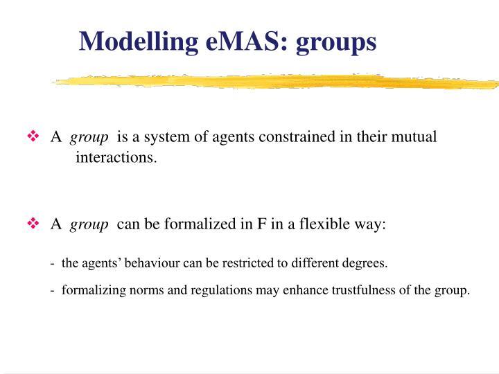 Modelling eMAS: groups