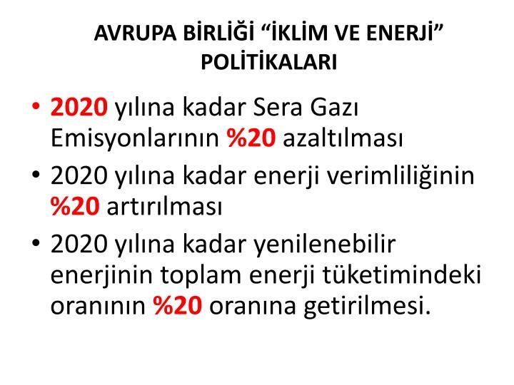 """AVRUPA BİRLİĞİ """"İKLİM VE ENERJİ"""" POLİTİKALARI"""
