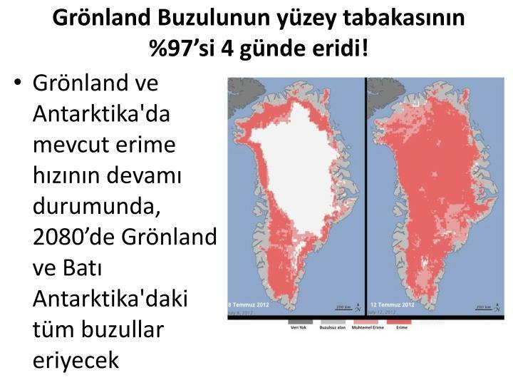 Grönland Buzulunun yüzey tabakasının