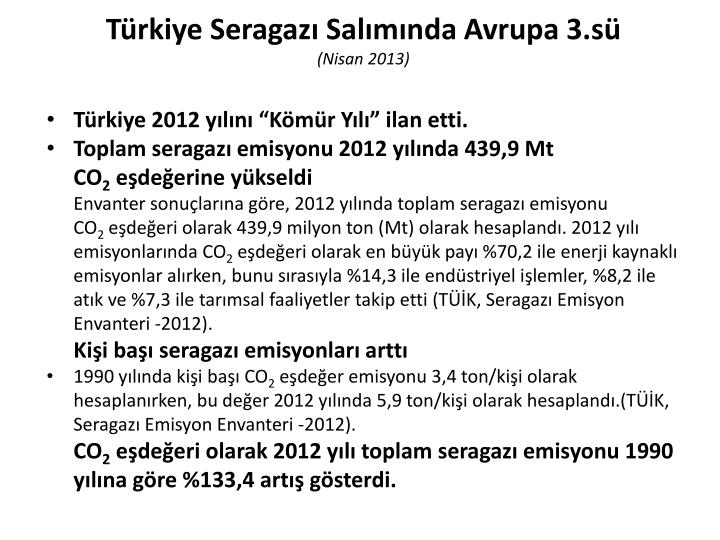 Türkiye Seragazı Salımında Avrupa 3.sü