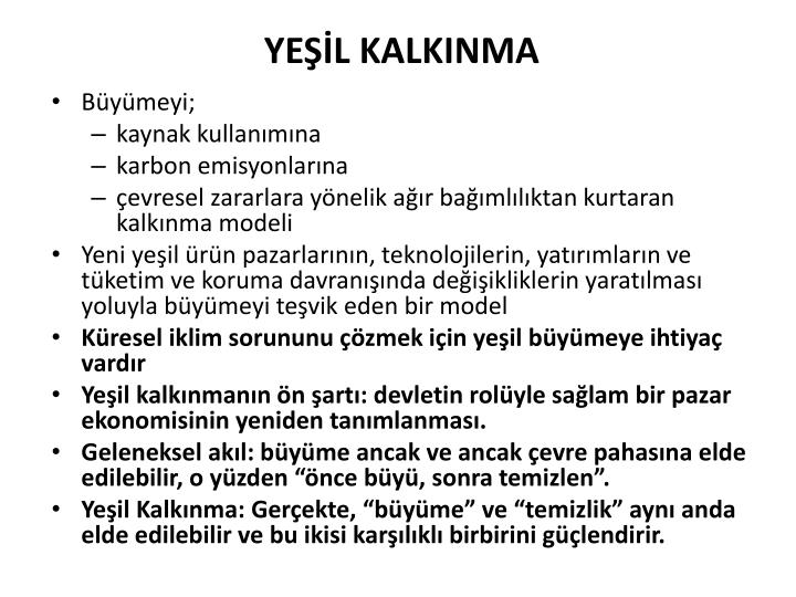 YEŞİL KALKINMA