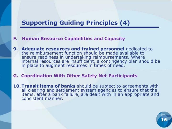 Supporting Guiding Principles (4)