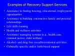 examples of recovery support services