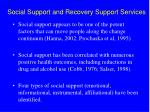 social support and recovery support services