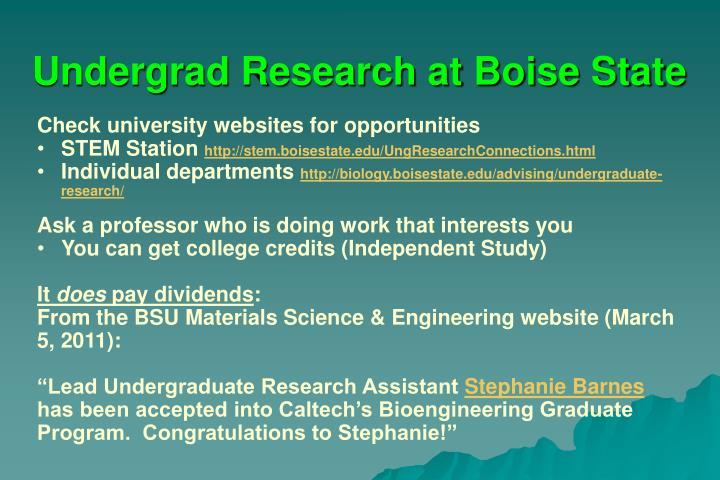 Undergrad Research at Boise State