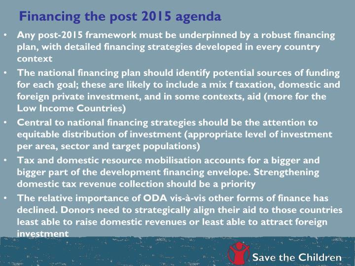 Financing the post 2015 agenda