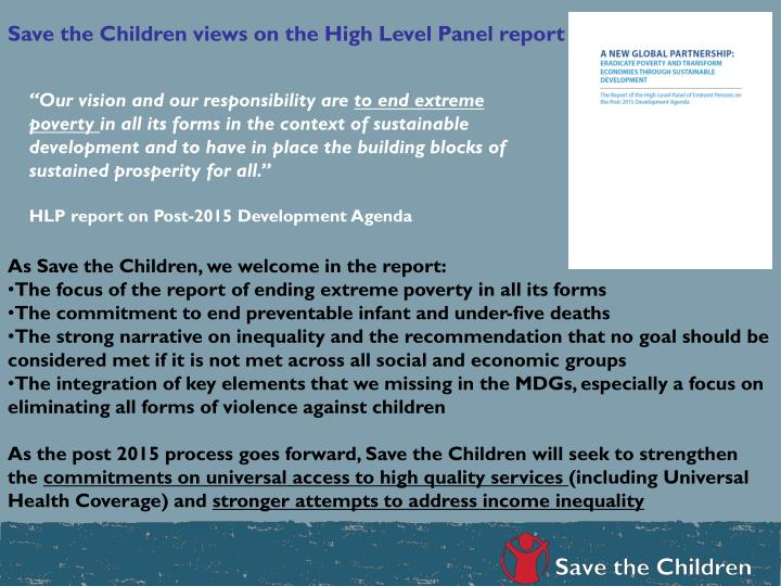 Save the Children views on the High Level Panel report