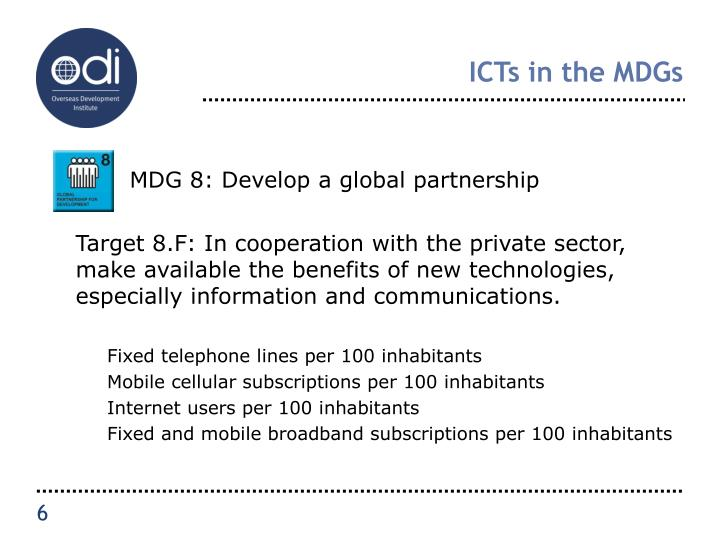ICTs in the MDGs