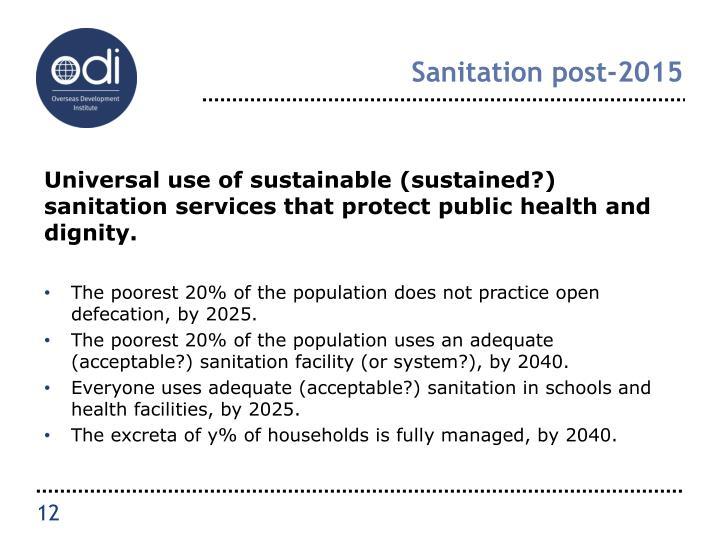 Sanitation post-2015