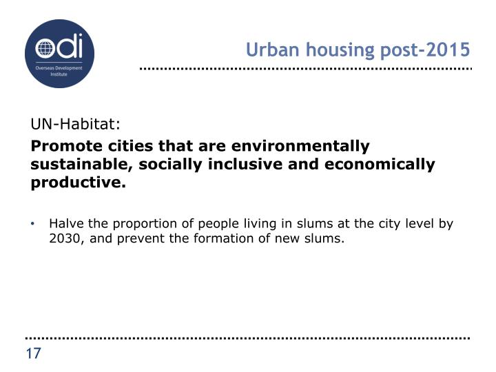 Urban housing post-2015