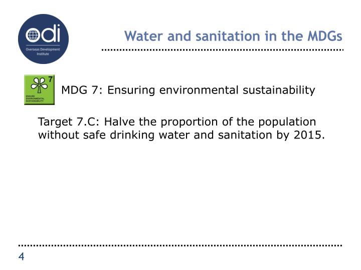 Water and sanitation in the MDGs