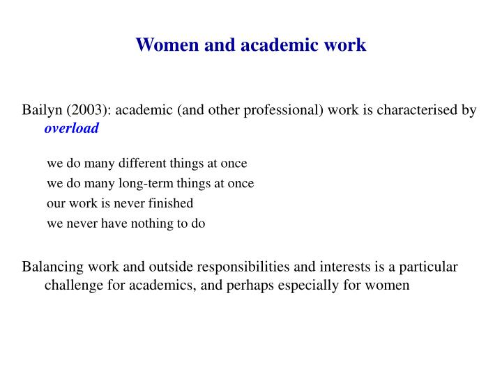 Women and academic work