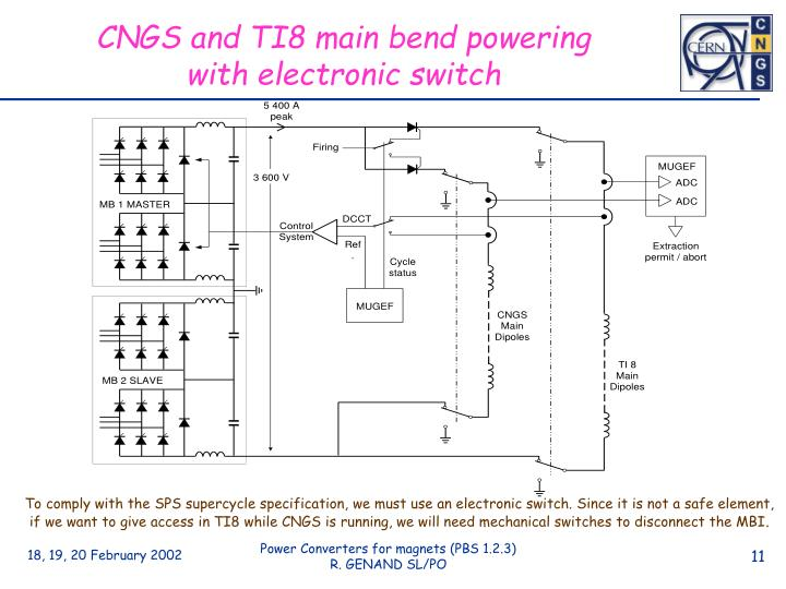 CNGS and TI8 main bend powering