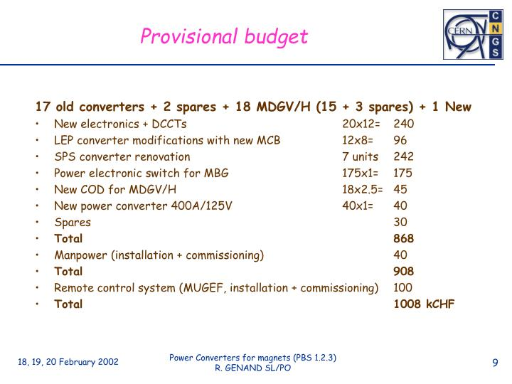 Provisional budget