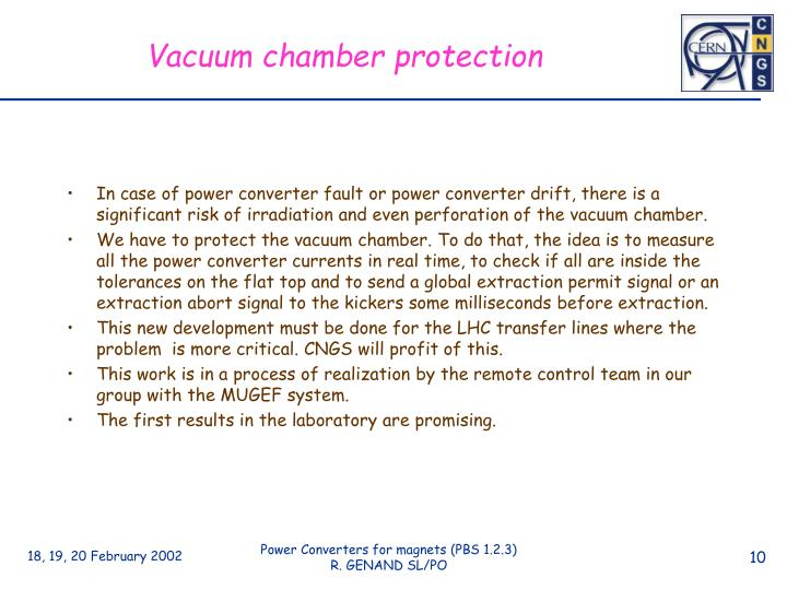 Vacuum chamber protection