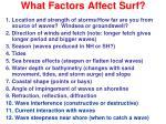 what factors affect surf11