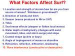 what factors affect surf9