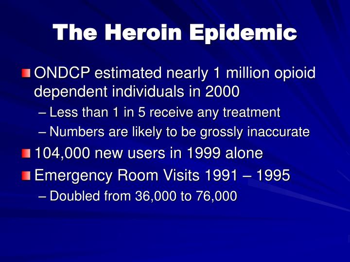 ONDCP estimated nearly 1 million opioid dependent individuals in 2000