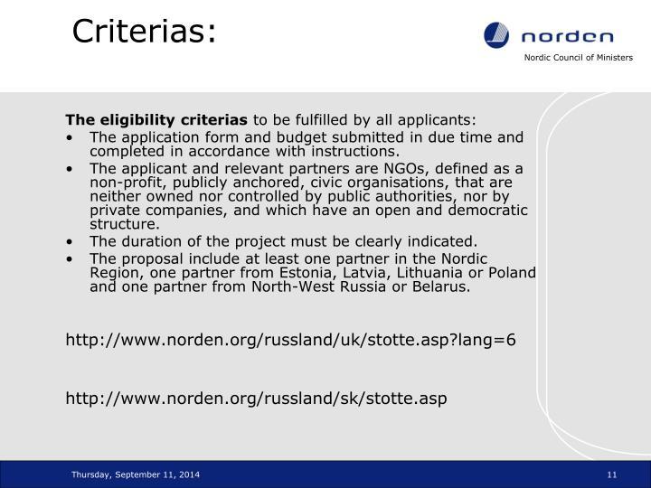 Criterias: