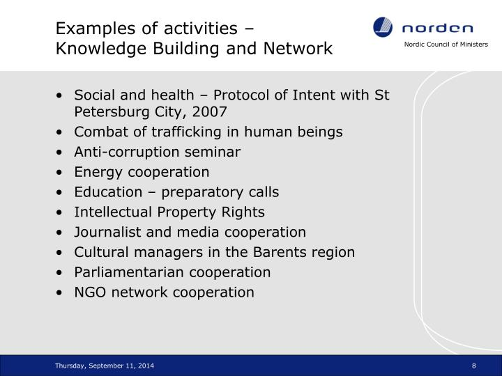 Examples of activities – Knowledge Building and Network