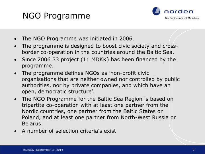 NGO Programme