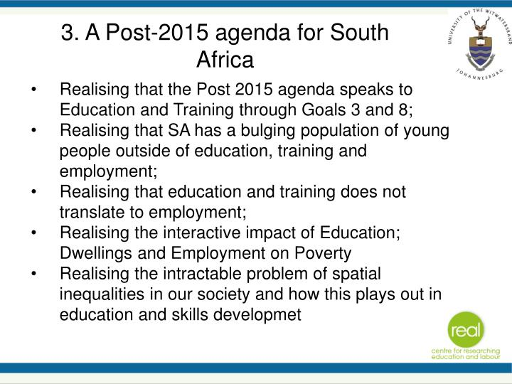 3. A Post-2015 agenda for South Africa