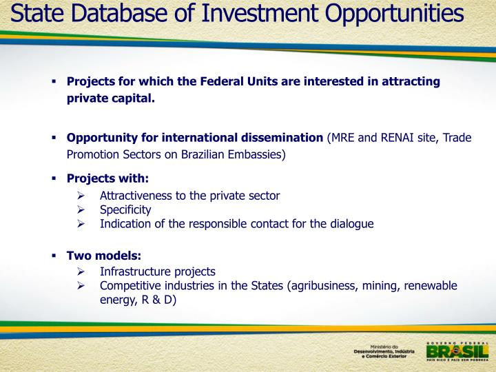 State Database of Investment Opportunities