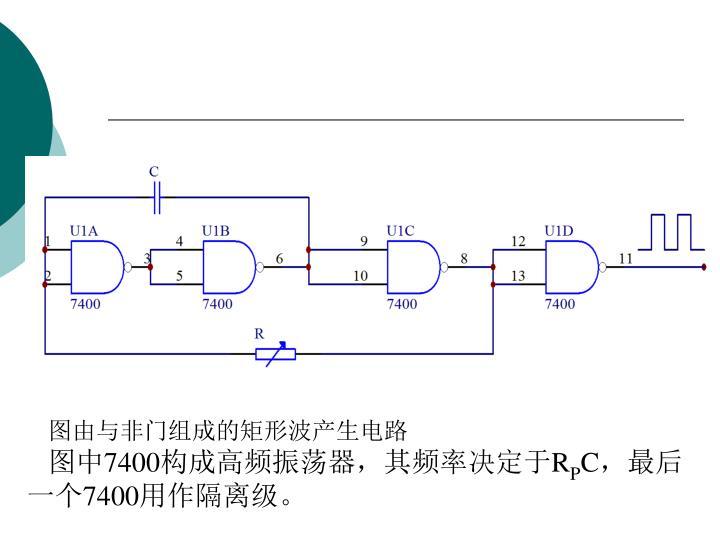 图由与非门组成的矩形波产生电路