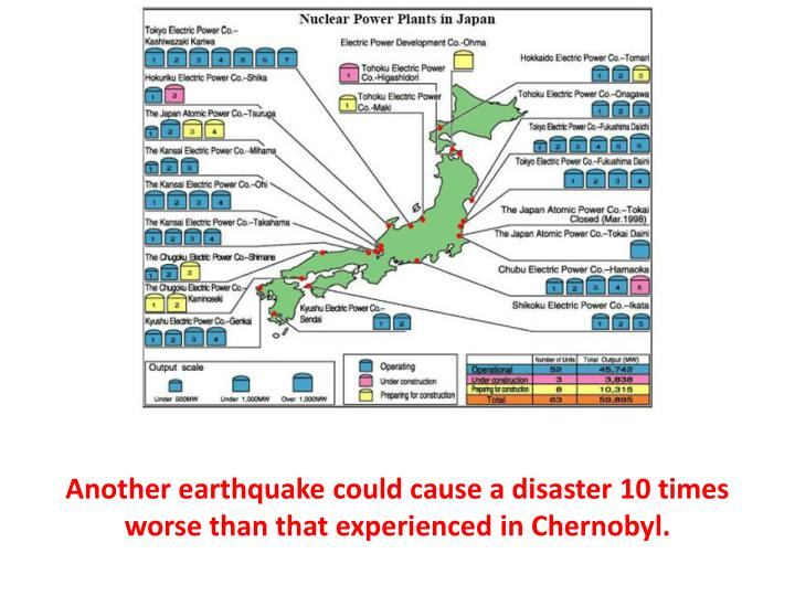 Another earthquake could cause a disaster 10 times worse than that experienced in Chernobyl.