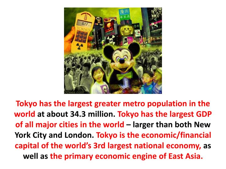 Tokyo has the largest greater metro population in the world