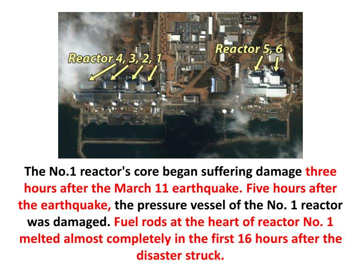The No.1 reactor's core began suffering damage
